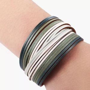 Vegan Leather Green Multilayered Bands Bracelet